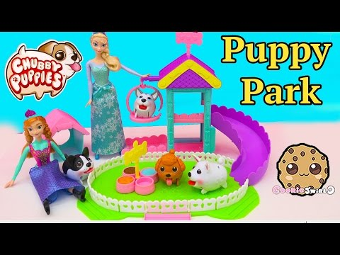 Dog Park With Disney Frozen Queen Elsa & Princess Anna's 4 Chubby Puppies - Toy Unboxing Video