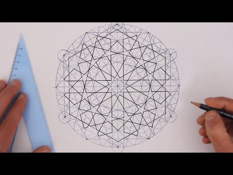How to draw - geometry - full tutorial - basic construction of an extended 12-fold rosette