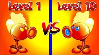 Plants vs Zombies 2 Compare Fire Peashooter Level 10 vs Fire Pea Level 1 - WoW It's a Big Difference