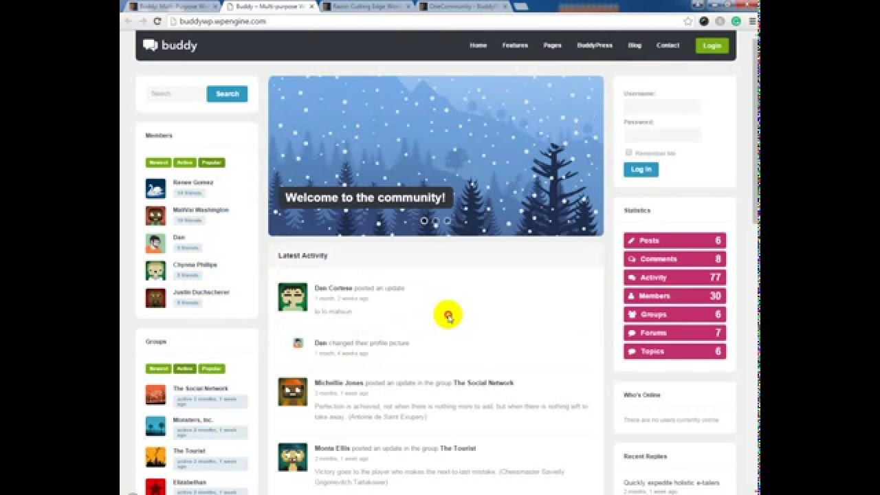 Buddy: Multi-Purpose WordPress/BuddyPress Theme Preview - YouTube