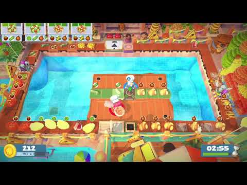 Overcooked 2 - Sun's Out Buns Out DLC - Level 1-3 - 4 Stars - 2 Player co-op  
