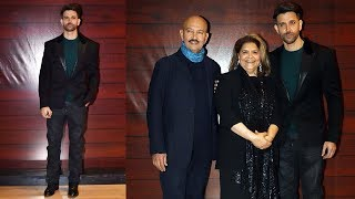 Hrithik Roshan With Father Rakesh Roshan & Mom Pinky At Javed Akhtar's 75th Birthday Party
