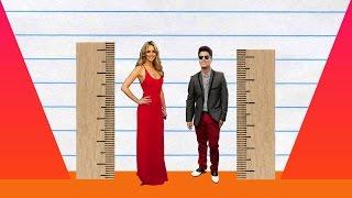 How Much Taller? - Jennifer Lawrence vs Bruno Mars!