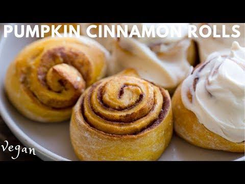 Pumpkin Cinnamon Rolls for the Holidays! (vegan)