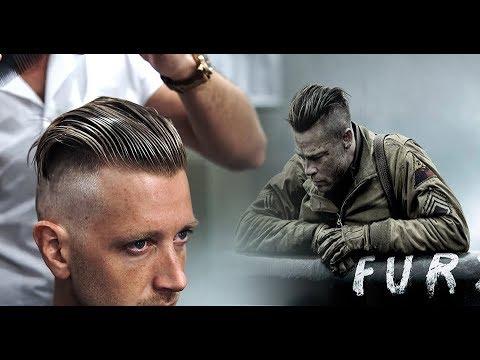 Brad Pitt Hair From Fury Mens Undercut Hairstyle Trend Tutorial
