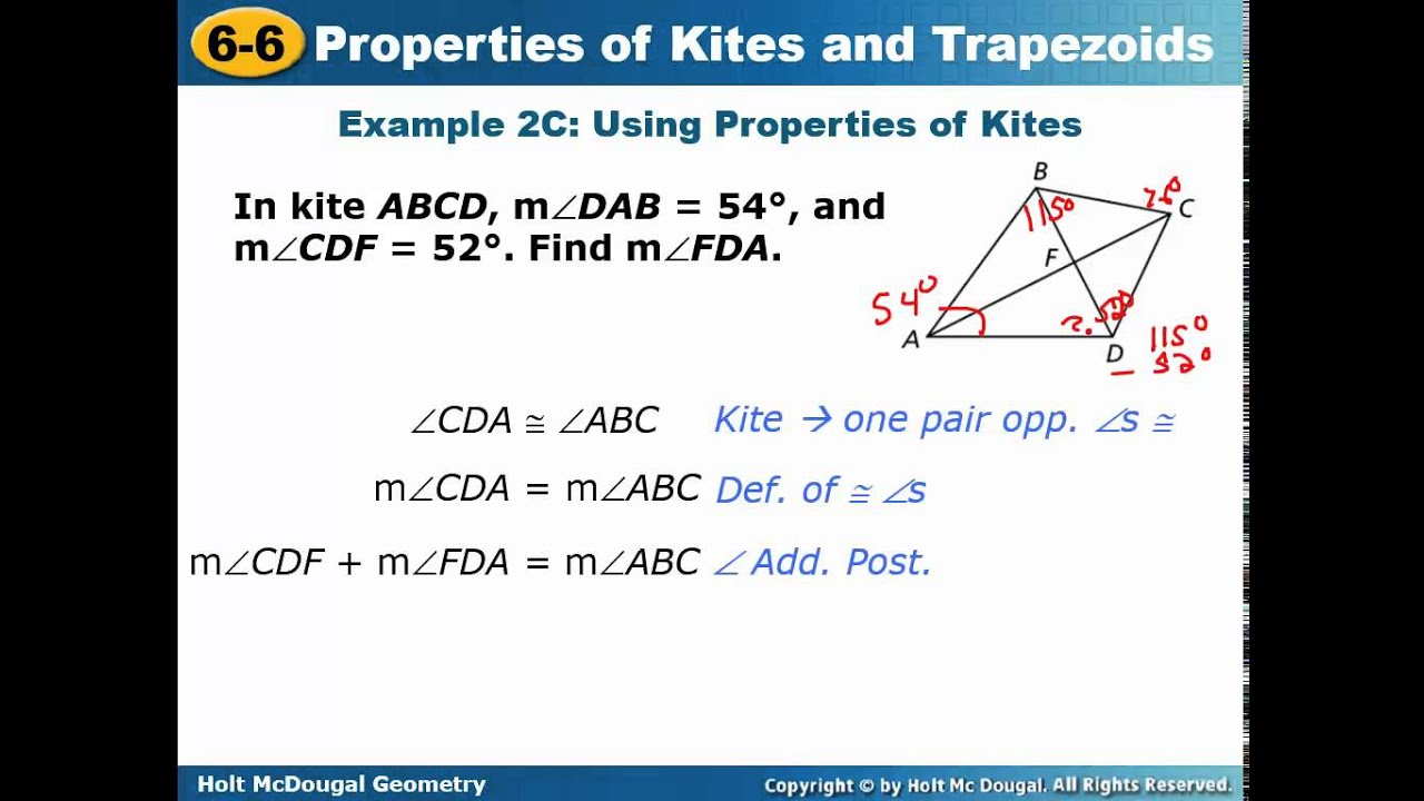 Geom 6 6 Properties of Kites and Trapezoids - YouTube