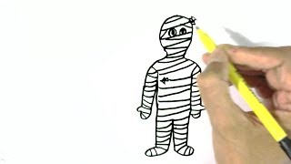 How to draw A Mummy - in easy steps for children. beginners