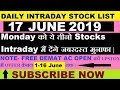 Intraday trading tips for 17 JUNE 2019   intraday trading strategy   Intraday stocks for tomorrow  