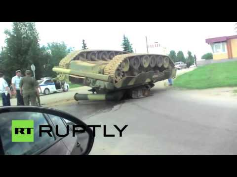 Thumbnail: Meanwhile in Russia: T-80 tank overturned in road mishap
