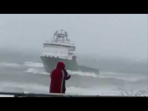 Supply Vessel in Rough Sea