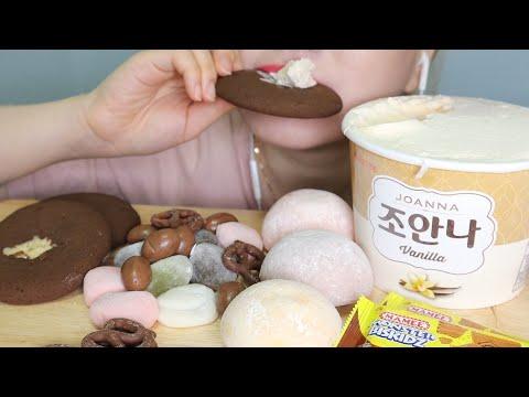 [ASMR] 찹쌀떡 파티, 초콜릿, 프레첼, 아이스크림 먹방 RICE CAKE PARTY, CHOCOLATE,PRETZEL,ICECREAM EATINGSOUNDS