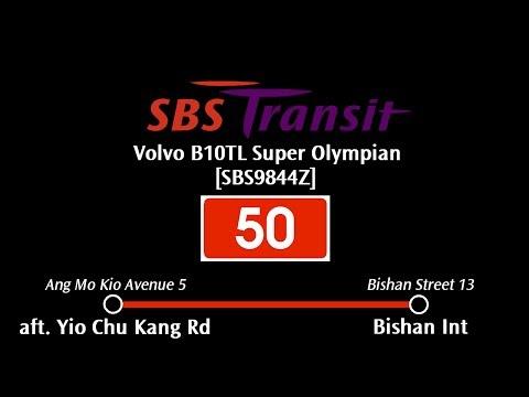 """SBS Transit Volvo B10TL Super Olympian [SBS9844Z] Sv50: """"aft. Yio Chu Kang Rd"""" → """"Bishan Int"""""""