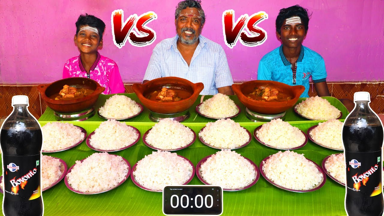 15 PLATE WHITE RICE & MUTTON GRAVY EATING CHALLENGE | VILLAGE BOYS EATING CHALLENGE | FARMER COOKING