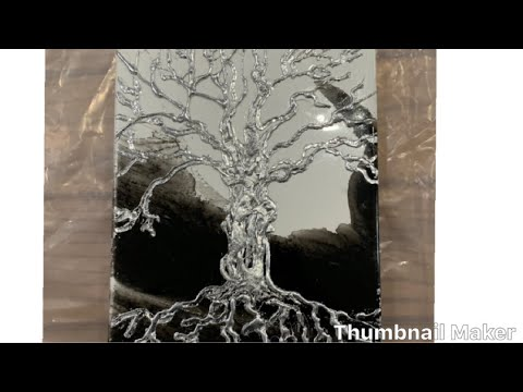 Resin Art Painting and silver leaf tree hot glue