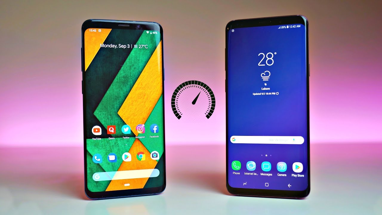 Samsung Galaxy S9 Plus Android 9.0 Pie (GSI) vs Android 8.1 Oreo (Experience 9.5 UI) - Speed Test! - YouTube