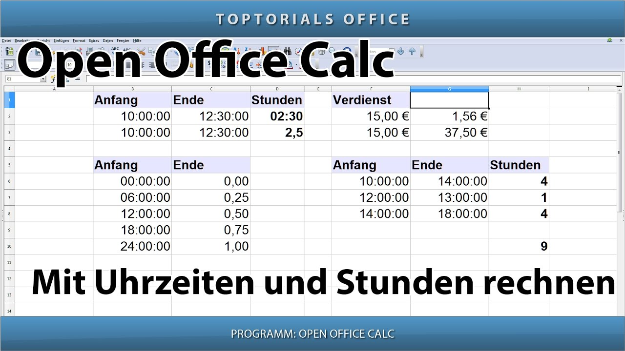 mit uhrzeiten und stunden rechnen openoffice calc youtube. Black Bedroom Furniture Sets. Home Design Ideas