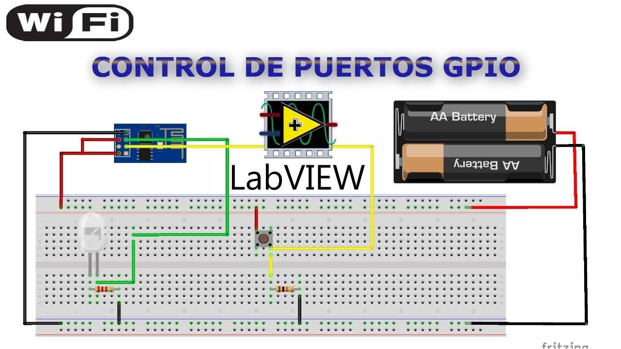 ESP8266 y LabView control entradas GPIO mediante wifi