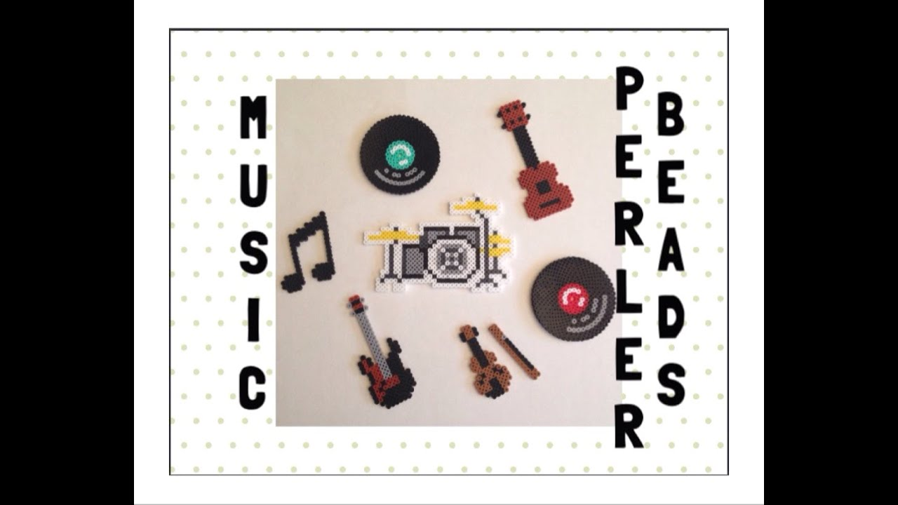 6 In 1 Music Perler Beads Tutorials Guitar Drums Notes