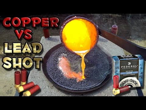 Molten Copper vs Lead Shot