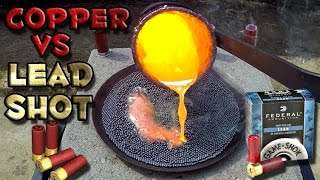 Pouring molten scrap copper on lead shot. Lead's melting point is 6...