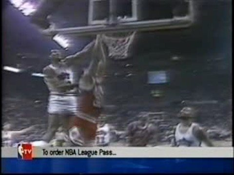 Larry Nance with a big block on Bill Cartwright