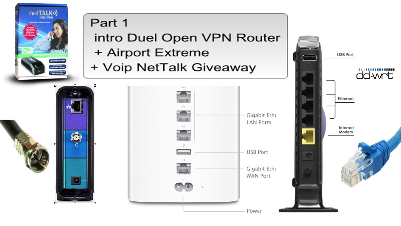 Part 1 intro Duel Open VPN Router + Airport Extreme+ Voip Nettalk Giveaway