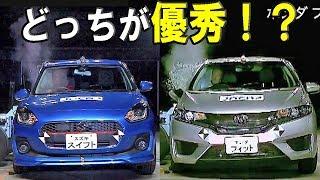 【新型スイフト vs フィット ハイブリッド】衝突安全 どっちが優秀!?