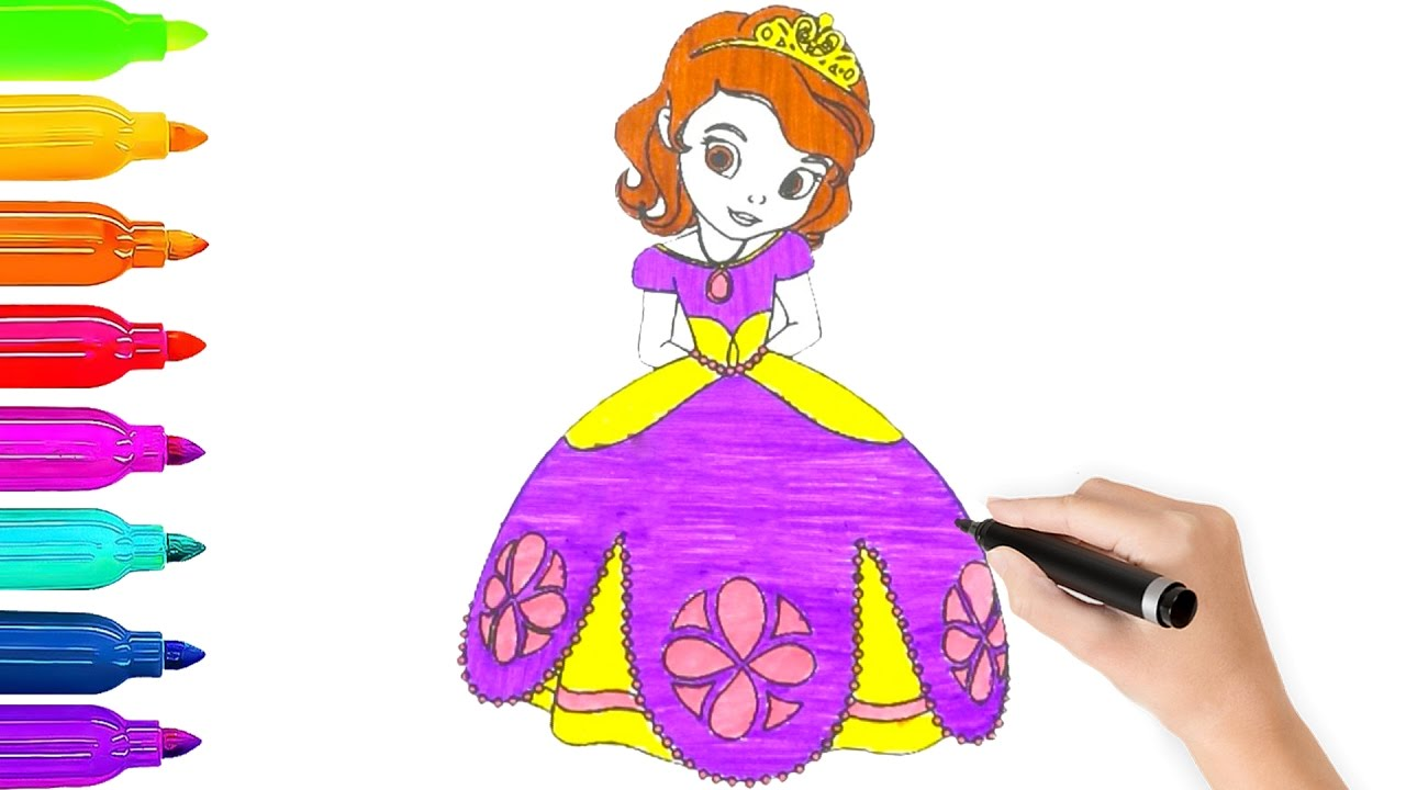 Learn Colors Disney Princess Sophia The First Coloring Pages L Book Videos For Children
