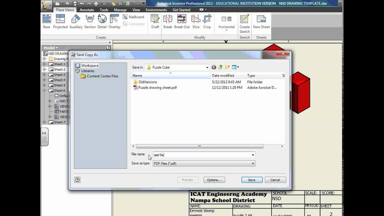 inventor pdf export