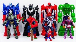 Power Rangers & Marvel Avengers Toys Pretend Play | Super Hero Mech Armors vs Darkseid Villains