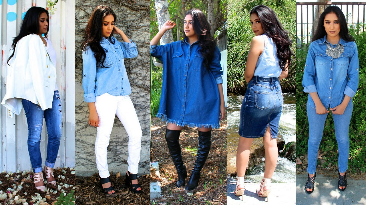1fb3d8e6e62977 HOW TO STYLE DENIM | Shirts, Jeans, Skirts, Dresses| Spring/Summer Lookbook  2015 - YouTube