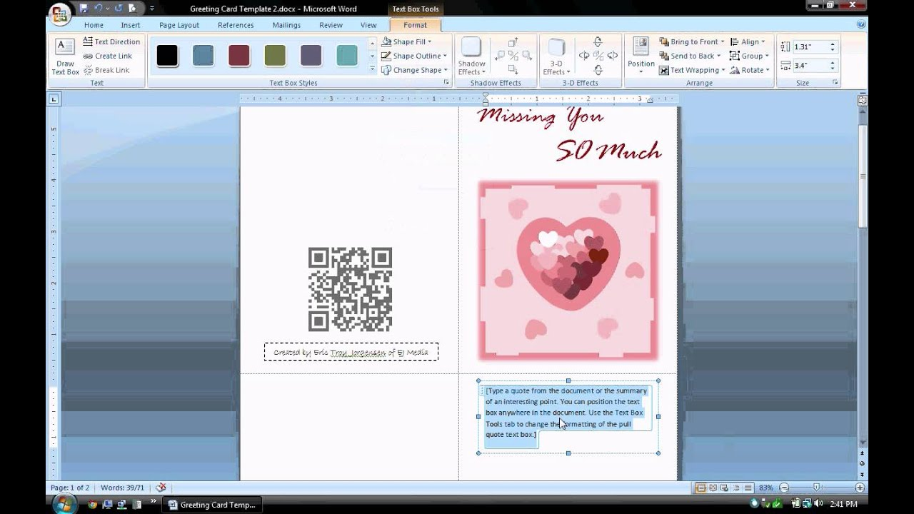 ms word tutorial part 1 greeting card template inserting and formatting text rotating text