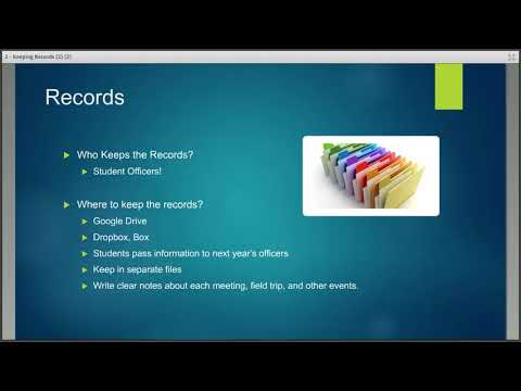 Student Chapter Webinar Series - Keeping Records