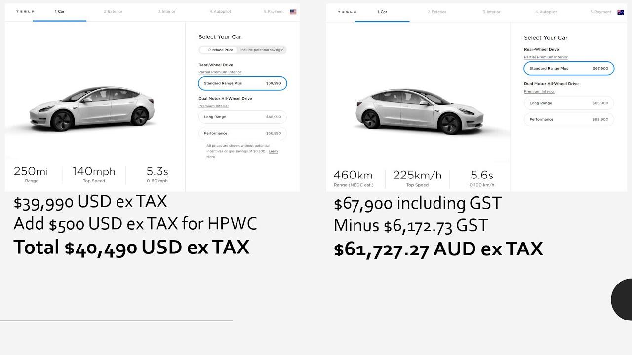 Tesla Model 3 SR+ USA vs Australia pricing - YouTube