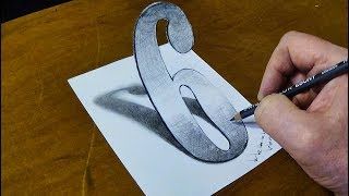 DRAWING NUMBER 6 - How to Draw 3D Number Six with One Pencil - Vamos