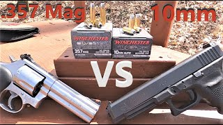 10mm VS .357 Magnum Winchester Silvertip Gel Test