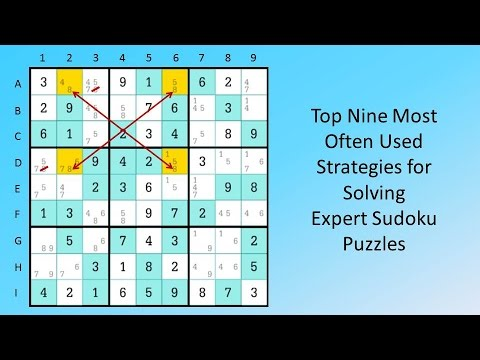 Top Nine Most Often Used  Strategies for Solving  Expert Sudoku Puzzles