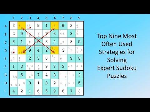 Top Nine Most Often Used Strategies for Solving Expert Sudoku