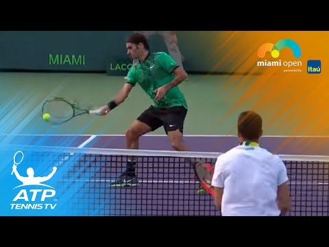 Amazing Roger Federer rally with Bautista Agut | Miami Open 2017 Day 7