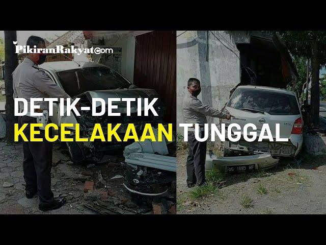 Detik-detik Mobil Minibus Mengalami Kecelakaan Tunggal di Nganjuk, Jawa Timur