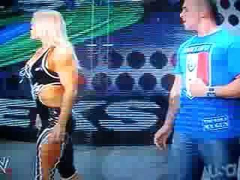 Santino and Beth Phoenix SLAP BUTTS!!! Raw 8/4/08