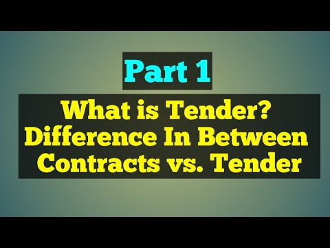 What is Tender - Know Basic about Tendering Process and Diff  Contracts vs   Tender