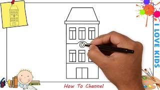 How to draw a building EASY step by step for kids, beginners, children