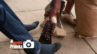 Street boy steals shoes from a…