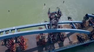 Монтаж арочного пролета на мосту Павлодар - Аксу