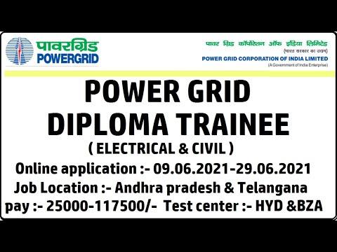 POWER GRID Diploma Trainee(ELE & CIVIL) Recruitment 2021   PAY :- 117500    Last date 29.06.2021   