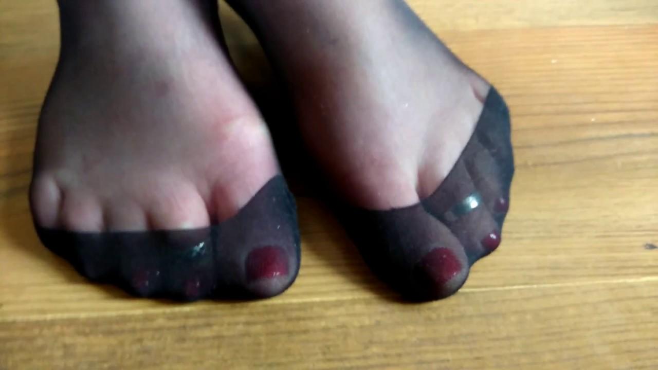 Black stocking feet