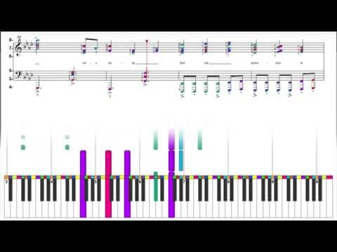 Queen - Somebody to Love - Color Wheel Electronic Sheet Music Animation - Piano Keyboard