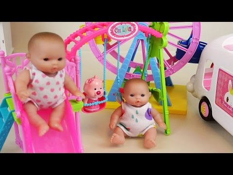 Thumbnail: Baby doll park slide wheel and car toys play