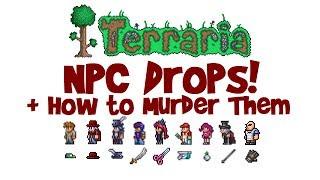 Terraria ALL NPC Drops, Items & Weapons! (Killing NPCs Guide, Voodoo Doll etc.)